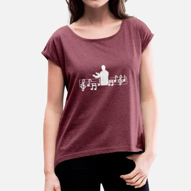 Music-maestro-music music - Women's T-Shirt with rolled up sleeves