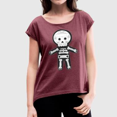 Day of the Dead, Mexican Skeleton - Women's T-Shirt with rolled up sleeves