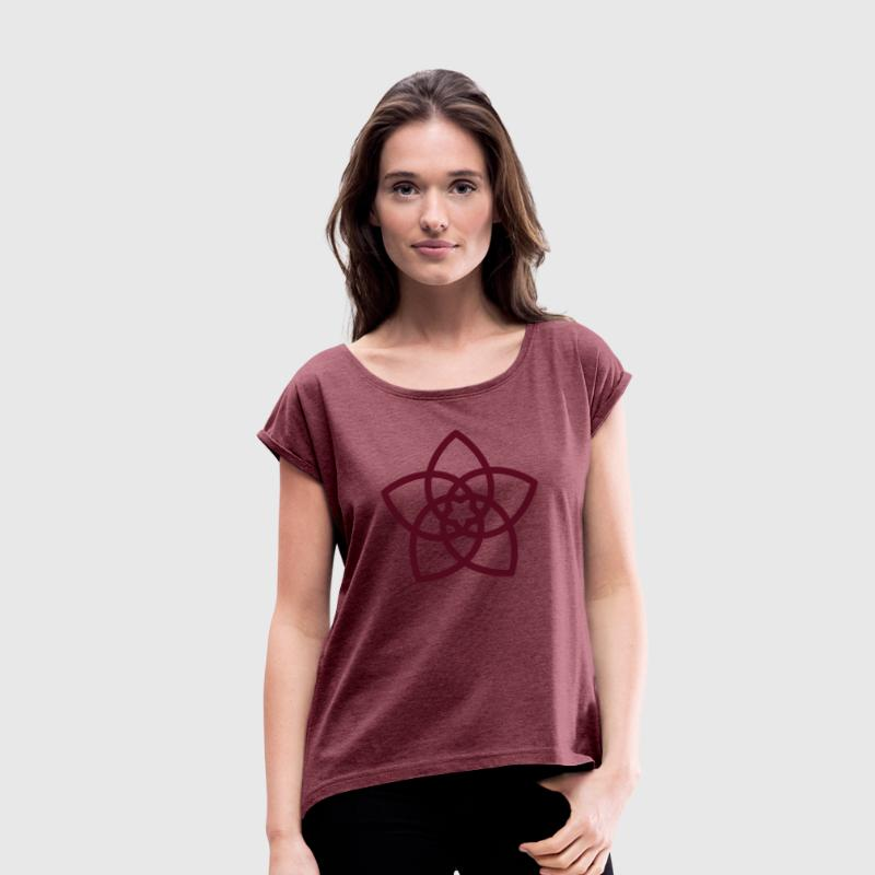 Venus Flower, Vector - FLOWER OF LOVE, symbol of love, balance and beauty - Women's T-Shirt with rolled up sleeves