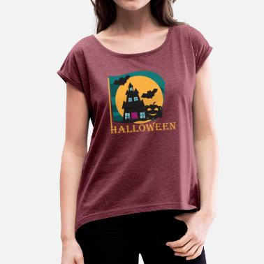 Haunted Halloween spooky haunted house - Women's T-Shirt with rolled up sleeves