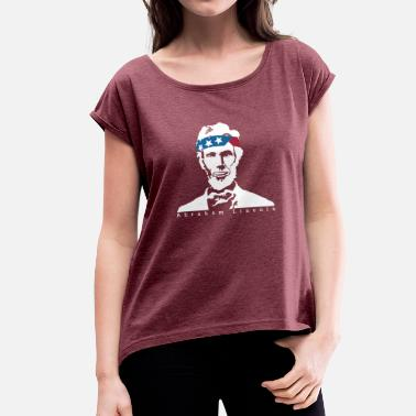Lincolnshire President Abraham Lincoln Vintage Amerikaanse Patriot - Vrouwen T-shirt met opgerolde mouwen