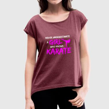 Karate Girl Tshirt for women - Women's T-Shirt with rolled up sleeves