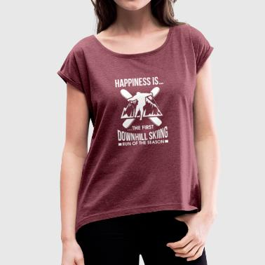 After Ski Ski Skiing Skier Skiing Ski Slope Winter - Women's T-Shirt with rolled up sleeves