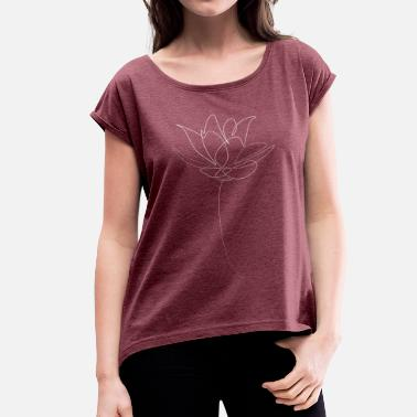 Lotus Blossom Lotus flower white - Women's T-Shirt with rolled up sleeves