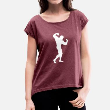 Muscle Bodybuilding Bodybuilder muscle man muscle shirt - Women's T-Shirt with rolled up sleeves