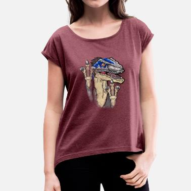 This Is Blue Jurassic Universe Blue Raptor Clever T REX prehist - Camiseta con manga enrollada mujer