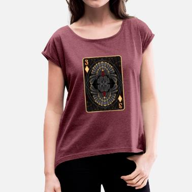 Thanksgiving Turkey Ace Card T-Shirt Funny Thanksgiving Trots - Vrouwen T-shirt met opgerolde mouwen