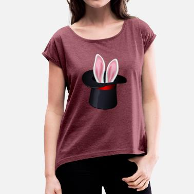 Magician Rabbits rabbit has - Women's T-Shirt with rolled up sleeves