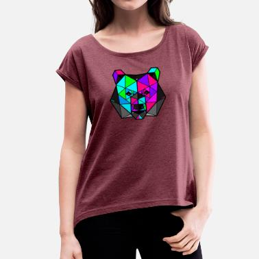 Different Colour Colourful Grizzly - Women's T-Shirt with rolled up sleeves