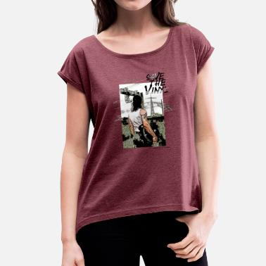 Save The Vinyl Electro DJ Turntable Save the Vinyl - Women's Rolled Sleeve T-Shirt
