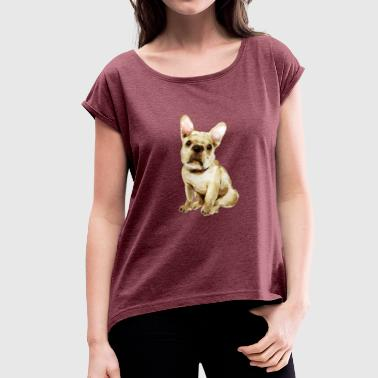 French Bulldog I beloved Frenchi - Women's T-Shirt with rolled up sleeves