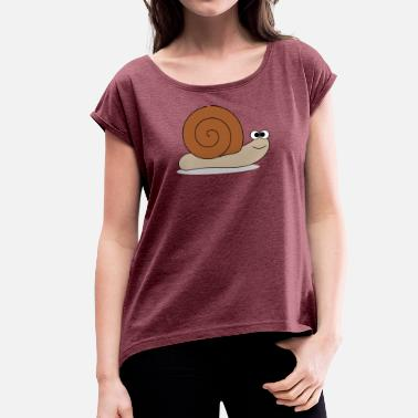 Lame Lame snail - Women's T-Shirt with rolled up sleeves