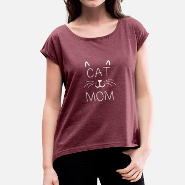 Mom Cat mom - Women's T-Shirt with rolled up sleeves