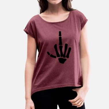 Skeleton Fuck You middle finger - Women's T-Shirt with rolled up sleeves
