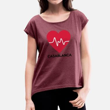 Casablanca heart Casablanca - Women's T-Shirt with rolled up sleeves