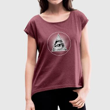 Triangle Eye Providence Illuminati Eye of Providence - Women's T-Shirt with rolled up sleeves