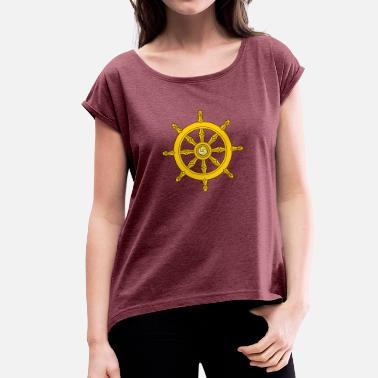 Ships Wheel Dharma Wheel/ships wheel - Women's T-Shirt with rolled up sleeves
