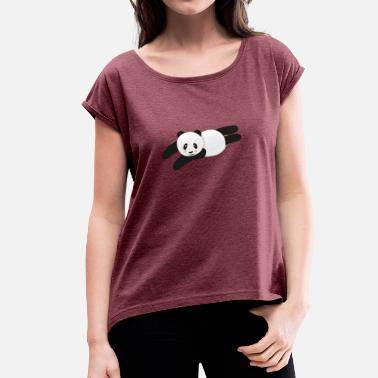 Panda chills - Women's T-Shirt with rolled up sleeves