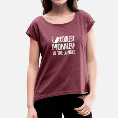 Chunk THE GREATEST MONKEY IN THE CHUNK FUNNY GIFT - Women's T-Shirt with rolled up sleeves