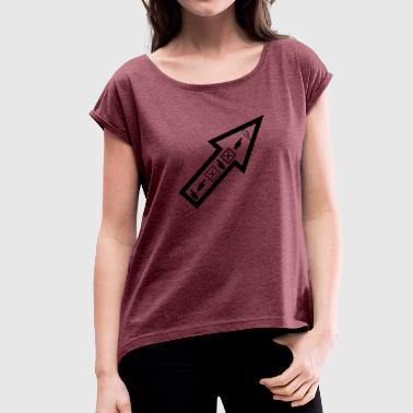 One Directions Arrow with icons In this direction to the destination - Women's T-Shirt with rolled up sleeves