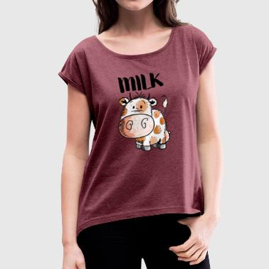 Cattle Milk Cow - Cows - Cattle - Cattle - Cattle - Comic - Women's T-Shirt with rolled up sleeves