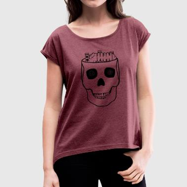Vaping Skull - Women's T-Shirt with rolled up sleeves