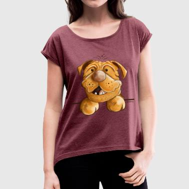 Happy Dogue de Bordeaux - Women's T-Shirt with rolled up sleeves