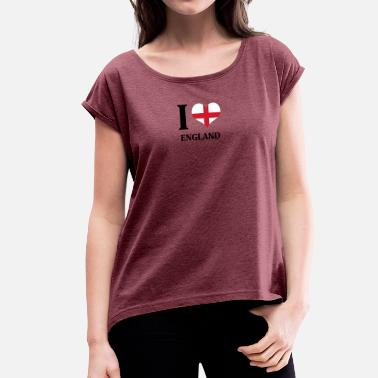 I Love Liverpool I love England - Women's T-Shirt with rolled up sleeves
