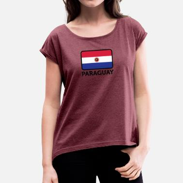 Asunción National Flag Of Paraguay - Women's T-Shirt with rolled up sleeves