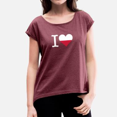 Kashubian I Love Poland - Women's T-Shirt with rolled up sleeves