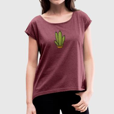 Cartoon Cactus Cute cartoon cactus - Women's T-Shirt with rolled up sleeves