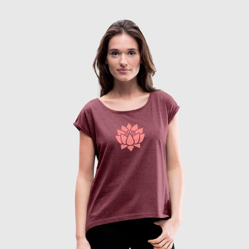 Lotus flower, Symbol of wisdom and enlightenment - T-shirt à manches retroussées Femme