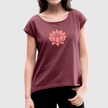 Lotus flower, Symbol of wisdom and enlightenment - Women's T-Shirt with rolled up sleeves