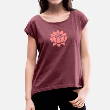 Tantra Symbool Lotus flower, Symbol of wisdom and enlightenment - Vrouwen T-shirt met opgerolde mouwen