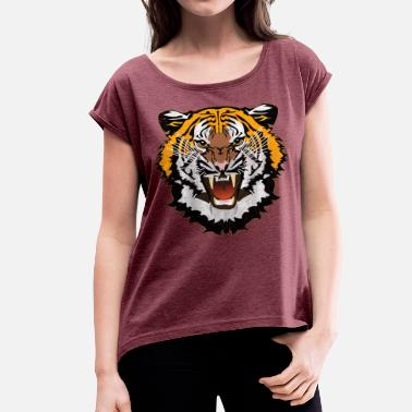 Bad Look Tiger Graphic Used Look Bad Look T-Shirt - Women's T-Shirt with rolled up sleeves