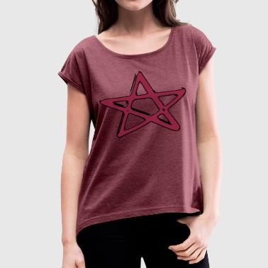 Goth Star Pentagramm Fivestar Star witch goth metal evil - Women's T-Shirt with rolled up sleeves