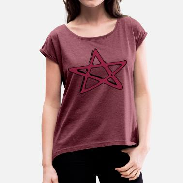 Goth Star Pentagramm Fivestar Star witch goth metal evil - Women's Rolled Sleeve T-Shirt