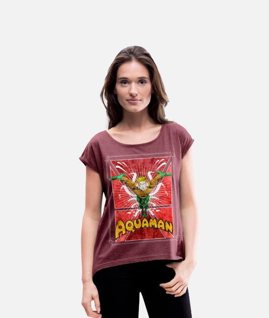 Superheld T-Shirts - Aquaman Teenager T-Shirt - Frauen T-Shirt mit gerollten Ärmeln Bordeauxrot meliert