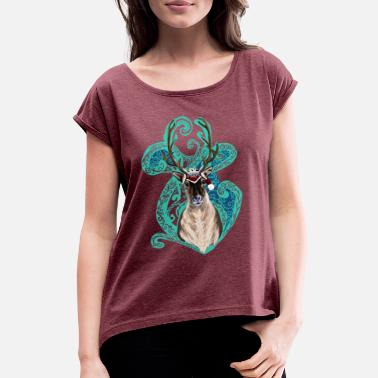 Reindeer Christmas reindeer - Women's Rolled Sleeve T-Shirt