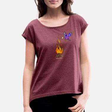 Bird with campfire - Women's Rolled Sleeve T-Shirt