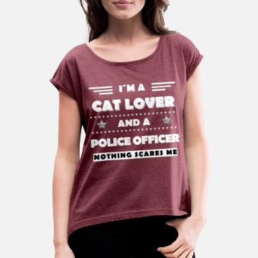 Police Police cat policeman - Women's Rolled Sleeve T-Shirt