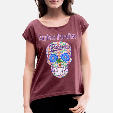 Patame Surfers Paradise Skull Purple - Women's Rolled Sleeve T-Shirt