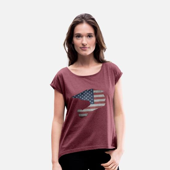 Mountain Biking T-Shirts - DOWNHILL HELM USA STYLE - Women's Rolled Sleeve T-Shirt heather burgundy