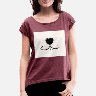 Rabbit Teeth Rabbit face with dog snout and rabbit teeth - Women's Rolled Sleeve T-Shirt