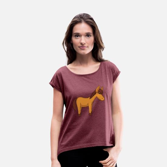 Mare T-Shirts - pony - Women's Rolled Sleeve T-Shirt heather burgundy