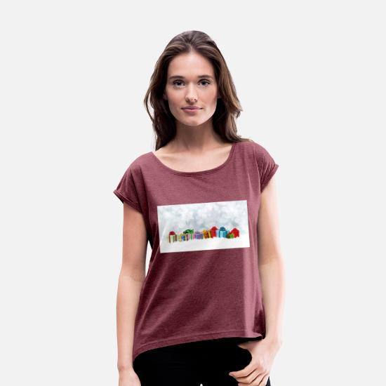 Toxic T-Shirts - piles of presents - Women's Rolled Sleeve T-Shirt heather burgundy