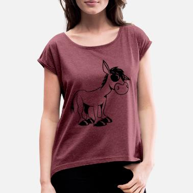 Muli donkey sad tired animal muli nature quadruped muli - Women's Rolled Sleeve T-Shirt