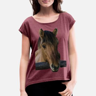 Brown horse without rider - Women's Rolled Sleeve T-Shirt