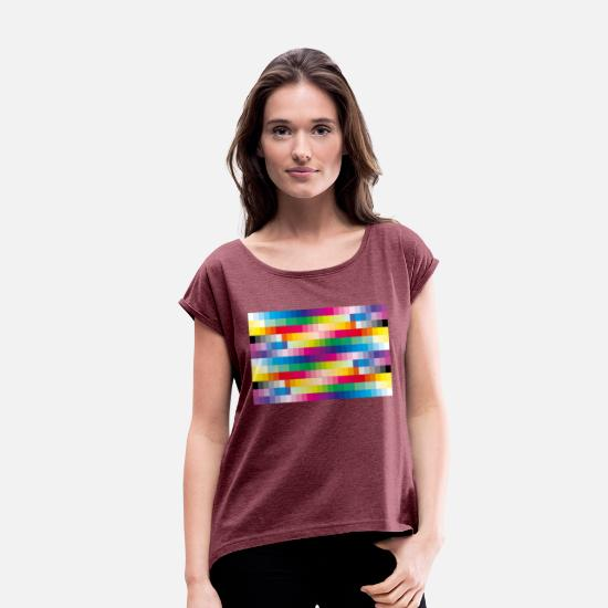 Bright Colours T-Shirts - Colours - Women's Rolled Sleeve T-Shirt heather burgundy