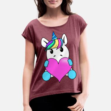 Baby Unicorn with heart - Women's Rolled Sleeve T-Shirt